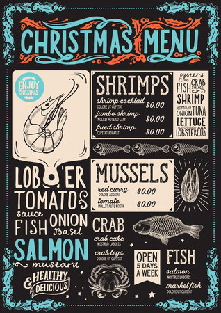 Christmas menu template for seafood restaurant and cafe on a blackboard background vector illustration brochure for xmas dinner celebration. Design poster with vintage lettering and holiday hand-drawn