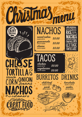 Christmas menu template for mexican restaurant and cafe on yellow background vector illustration brochure for xmas dinner celebration. Design poster with vintage lettering and holiday hand-drawn graphic decorations.