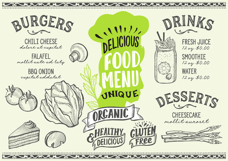 Organic menu template for vegetarian restaurant on green background vector illustration brochure for gourmet food and drink cafe. Design layout with vintage chefÕs hat lettering and doodle hand-drawn graphic.