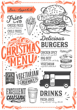 Christmas menu template for food truck on white background vector illustration brochure for xmas night celebration. Design poster with vintage lettering and holiday hand-drawn graphic decorations.