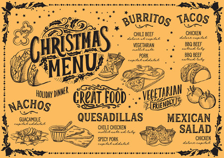 Christmas menu template for mexican restaurant and cafe vector illustration brochure for xmas dinner celebration. Design poster with vintage lettering and holiday hand-drawn graphic decorations.