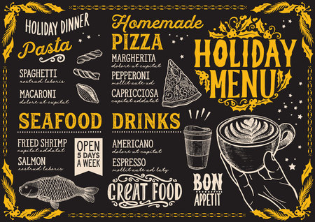 Christmas menu template for restaurant and cafe on a blackboard background vector illustration food brochure for holiday dinner celebration. Design poster with vintage lettering and hand-drawn graphic decorations.