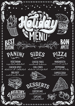 Christmas menu template for restaurant and cafe on a blackboard background vector illustration food brochure for xmas dinner celebration. Poster with vintage lettering and holiday hand-drawn graphic decorations.