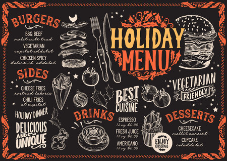 Christmas menu template for burger restaurant and cafe on a blackboard vector illustration brochure for xmas dinner celebration. Design poster with vintage lettering and holiday hand-drawn graphic decorations. Vector Illustration
