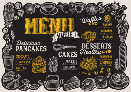 Waffle and pancake menu template for restaurant on a blackboard background vector illustration brochure for food and drink cafe. Design layout with vintage lettering and frame of hand-drawn fruits and sweets. Çizim