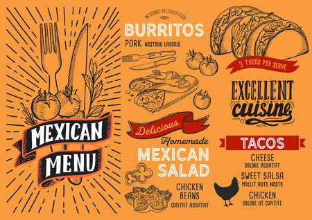 Mexican menu template for restaurant on yellow background vector illustration brochure for food and drink cafe. Design layout with vintage lettering and doodle hand-drawn graphic icons. Banque d'images - 112880487