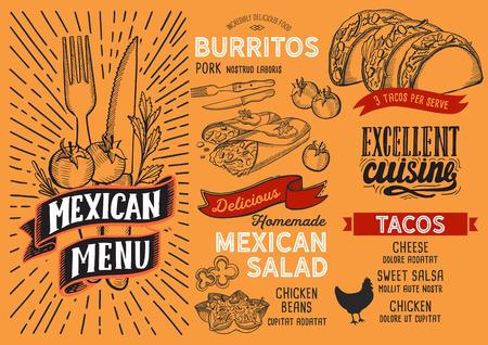 Plantilla de menú mexicano para restaurante en folleto de ilustración de vector de fondo amarillo para cafetería de comida y bebida. Diseño de diseño con letras vintage y garabatos iconos gráficos dibujados a mano. Ilustración de vector