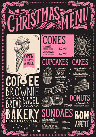 Christmas menu template for dessert restaurant and cafe on a blackboard background vector illustration brochure for xmas dinner celebration. Design poster with vintage lettering and holiday hand-drawn graphic.