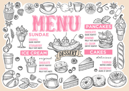 Dessert menu template for restaurant vector illustration brochure for food and drink cafe. Design layout with vintage lettering and frame of hand-drawn graphic fruits and sweets.