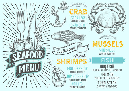 Seafood menu template for restaurant on a blue background vector illustration brochure for food and drink cafe. Layout with vintage lettering and doodle hand-drawn graphic icons.