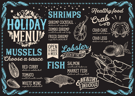Christmas menu template for seafood restaurant and cafe on a blackboard background vector illustration for xmas dinner celebration. Design poster with vintage lettering and holiday hand-drawn graphic