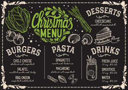 Christmas menu template for vegetarian restaurant and cafe on a blackboard background vector illustration brochure for holiday dinner celebration. Design poster with vintage lettering and hand-drawn graphic decorations. Vettoriali