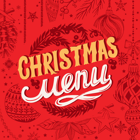 Christmas menu template for restaurant and cafe on red background vector illustration brochure for xmas dinner celebration. Design poster with vintage lettering and holiday hand-drawn graphic decorations.