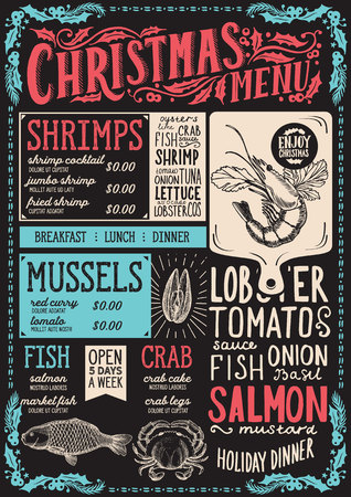 Christmas menu template for seafood restaurant and cafe on a blackboard background vector illustration brochure for xmas celebration. Design poster with vintage lettering and holiday hand-drawn graphic decorations. 写真素材 - 112880521