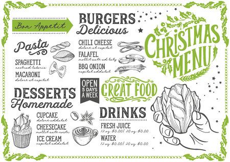 Christmas menu template for vegetarian restaurant and cafe vector illustration brochure for xmas dinner celebration. Design poster with vintage lettering and holiday hand-drawn graphic decorations.