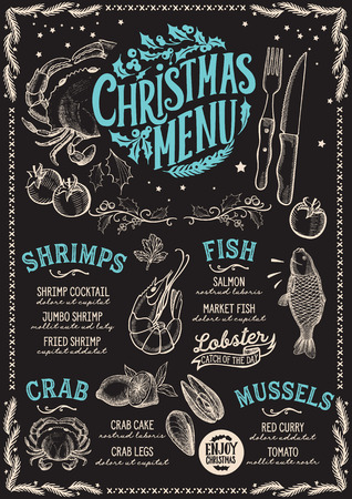 Christmas menu template for seafood restaurant and cafe on a blackboard background vector illustration brochure for xmas dinner celebration. Design poster with vintage lettering and hand-drawn graphic  イラスト・ベクター素材