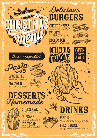 Christmas menu template for vegetarian restaurant and cafe on yellow background vector illustration brochure for xmas dinner celebration. Design poster with vintage lettering and holiday hand-drawn graphic decorations.