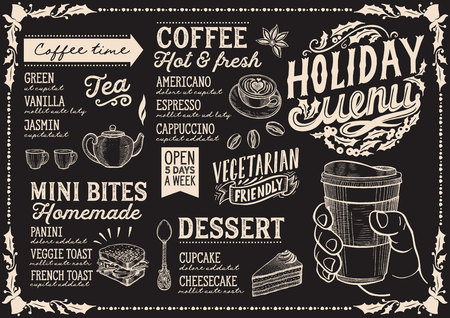 Christmas menu template for coffee shop on a blackboard background vector illustration brochure for holiday celebration. Design poster with vintage lettering and hand-drawn graphic decorations. Vector Illustration