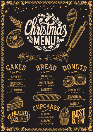 Christmas menu template for bakery and dessert cafe on a blackboard background vector illustration brochure for xmas dinner celebration. Design with vintage lettering and holiday hand-drawn graphic decorations.