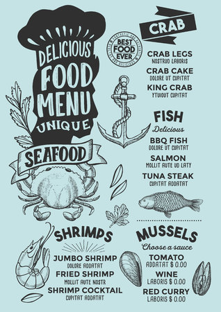 Seafood menu template for restaurant on blue background vector illustration brochure for gourmet food and drink cafe. Design layout with vintage chefs hat lettering and doodle hand-drawn graphic.
