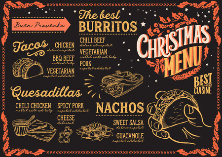 Christmas menu template for mexican restaurant and cafe on a blackboard background vector illustration brochure for holiday dinner celebration. Design poster with vintage lettering and hand-drawn graphic decorations.