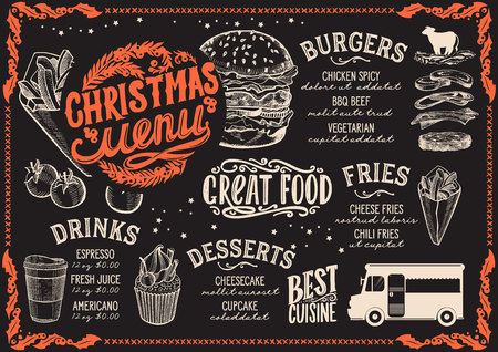 Christmas menu template for food truck on blackboard background vector illustration brochure for night celebration. Design poster with lettering and holiday hand-drawn graphic. Illustration