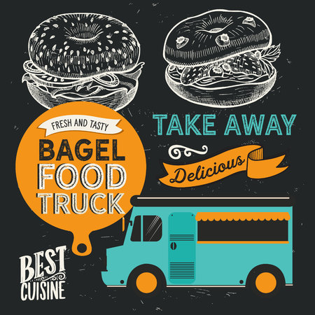 Sandwich illustration - bagel, snack, hamburger for restaurant. Vector hand drawn poster for cafe and fast food truck. Design with lettering and doodle vintage graphic. 版權商用圖片 - 124189895