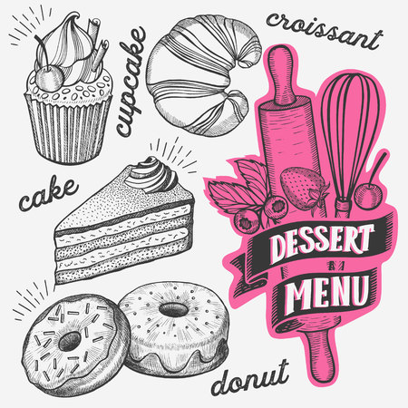 Dessert illustration - cake, donut, croissant, cupcake, muffin for bakery restaurant. Vector hand drawn poster for food cafe and pastries truck. Design with lettering and doodle vintage graphic. 向量圖像
