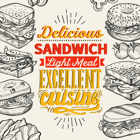 Sandwich illustration - bagel, snack, hamburger for restaurant.  イラスト・ベクター素材