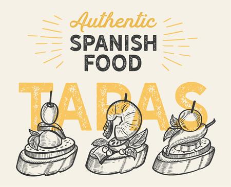 Spaanse keukenillustraties - tapas voor restaurant. Vector Illustratie