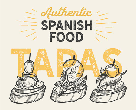 Spanish cuisine illustrations - tapas for restaurant.