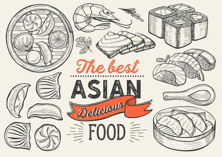 Ilustraciones asiáticas: sushi, dim sum, fideos, gyoza para restaurante chino.