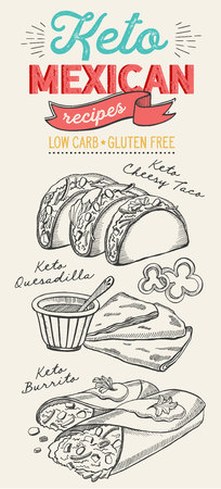 Mexican food illustrations - burrito, tacos, quesadilla for keto diet. Vector hand drawn poster for cafe and bar. Design with lettering and doodle vintage graphic. 向量圖像