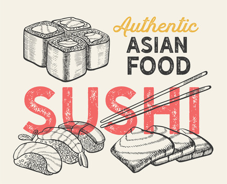 Asian illustrations - sushi, nigiri,maki  for chinese restaurant.