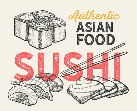 Asian illustrations - sushi, nigiri,maki  for chinese restaurant.