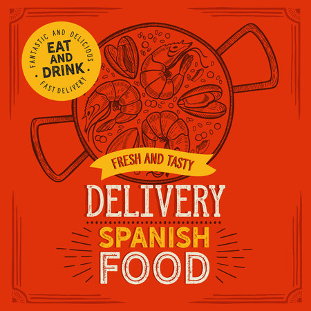 Spanish cuisine illustration - paella delivery for restaurant. Vector hand drawn poster for catalan cafe and bar. Design with lettering and doodle vintage graphic.