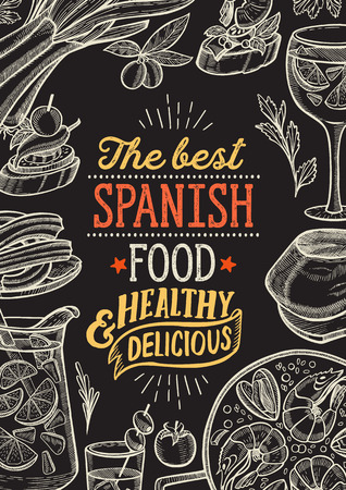 Spanish cuisine illustrations - tapas, paella, sangria, jam—n, churros, calcots, turron for restaurant. Vector hand drawn poster for catalan cafe and bar. Design with lettering and doodle vintage graphic. Stock Illustratie