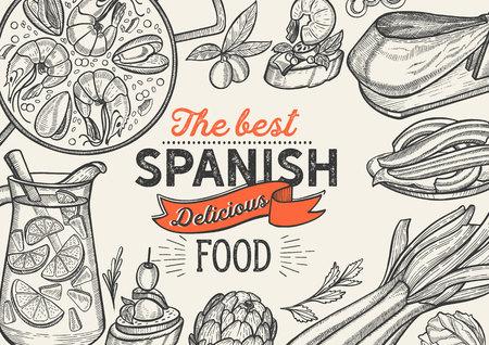Spaanse keuken illustraties - tapas, paella, sangria, jam-n, churros, calcots, turron voor restaurant. Vector hand getekende poster voor Catalaanse café en bar. Ontwerp met belettering en doodle vintage afbeelding.