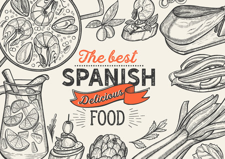 Spanish cuisine illustrations - tapas, paella, sangria, jam—n, churros, calcots, turron for restaurant. Vector hand drawn poster for catalan cafe and bar. Design with lettering and doodle vintage graphic.