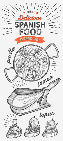 Spanish cuisine illustrations - tapas, paella, jamon, for restaurant. Stock Illustratie