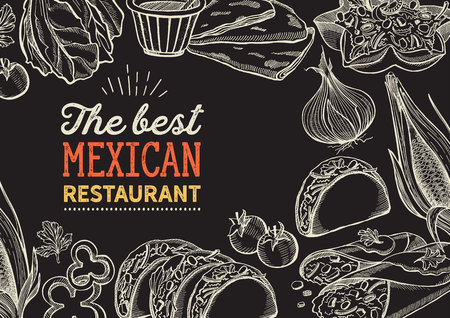 Mexican food illustrations - burrito, tacos, quesadilla for restaurant. Vector hand drawn poster for cafe and bar. Design with lettering and doodle vintage graphic.