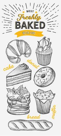 Bakery illustration - cake, donut, croissant, cupcake, muffin for restaurant.