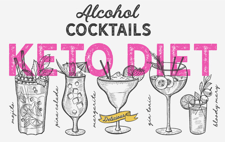Keto diet cocktail illustration - margarita, mojito, gin tonic, pina colada. Vector hand drawn alcohol drinks for bar and pub. Design with lettering.