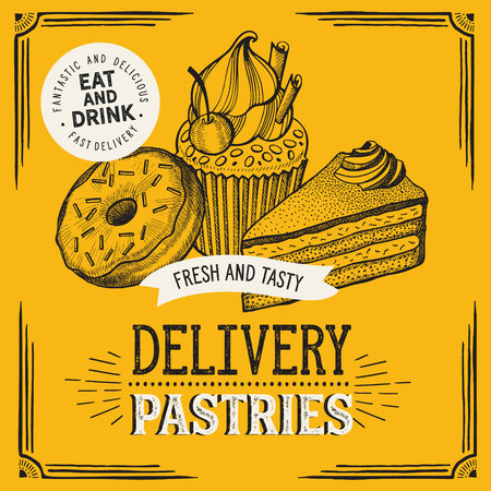 Bakery illustration - cake, donut, croissant, cupcake, muffin for restaurant. Vector hand drawn poster for food cafe and pastries truck. Design with lettering and doodle vintage graphic. 向量圖像