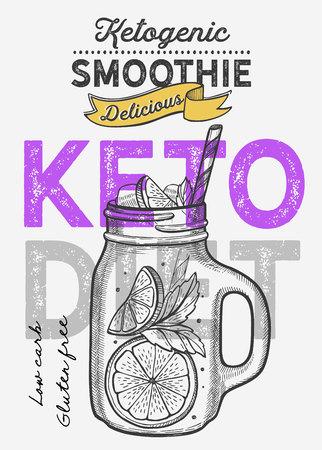 Keto diet drink smoothie illustration for juice restaurant on vintage background. Vector hand drawn poster for cafe.