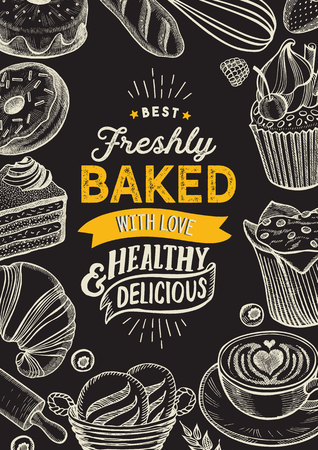 Bakery illustration - cake, donut, croissant, cupcake, muffin for restaurant. Standard-Bild - 120392424