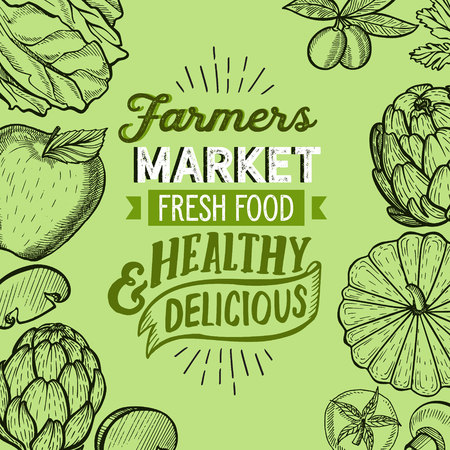 Vegetables and fruits illustration for farm market on background. Vector hand drawn organic and vegetarian food. Design poster with lettering and doodle vintage graphic. 版權商用圖片 - 124189915