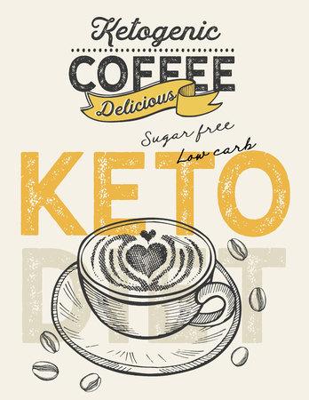 Keto diet drink coffee illustration for restaurant on vintage