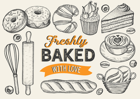 Bakery illustration - cake, donut, croissant, cupcake, muffin for restaurant. Vector hand drawn poster for food cafe and pastries truck. Design with lettering and doodle vintage graphic. Illustration