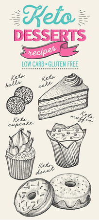 Keto diet dessert illustration - cake, donut, croissant, cupcake, muffin. Vector hand drawn poster for food cafe and pastries truck. Design with lettering and doodle vintage graphic.